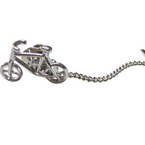 Silver Toned Simple Bicycle Tie Tack